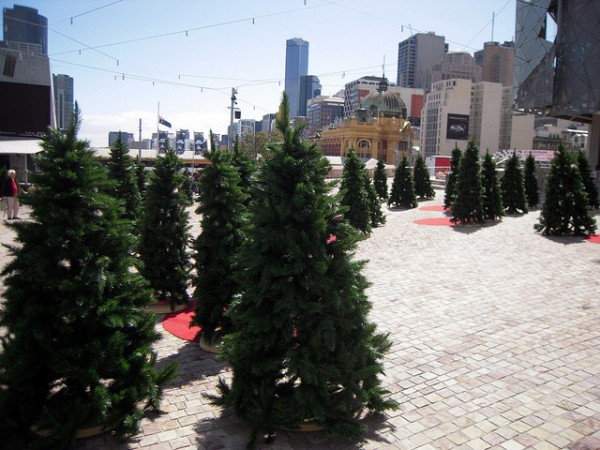 Árboles de Navidad en Federation Square, Melbourne