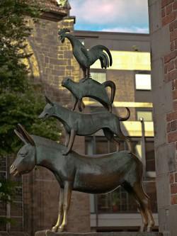 La estatua más famosa de los Músicos de Bremen