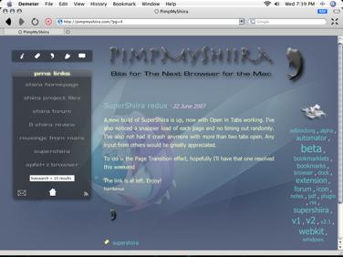 Demeter nuevo navegador en MacOSX