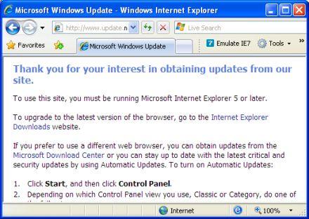 Windows Update bloquea a IE 8