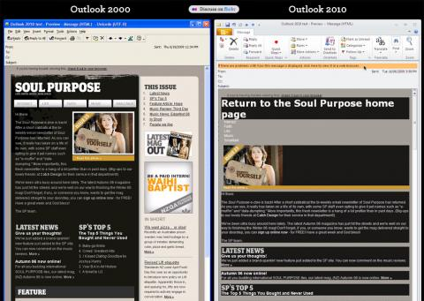 Las absurdas decisiones de Microsoft: el motor de renderizado de Outlook 2010