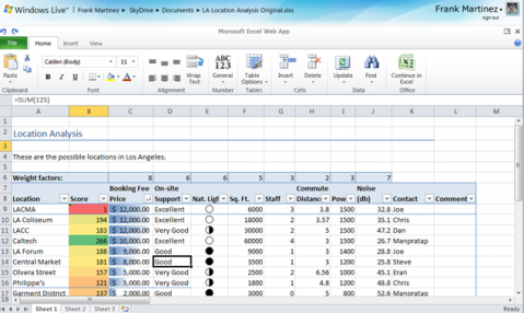 Excel Live Worksapce