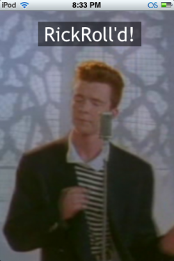 iPhone Rickrolled