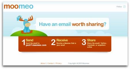 Moomeo, para compartir correos con Twitter y Facebook