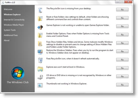 FixWin: Repara 50 errores de Windows con un solo clic