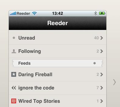 Reeder, el Google Reader de iPhone