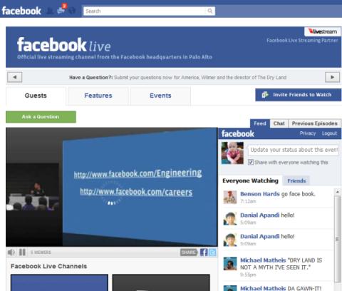 Facebook contará con servicio de livestreaming