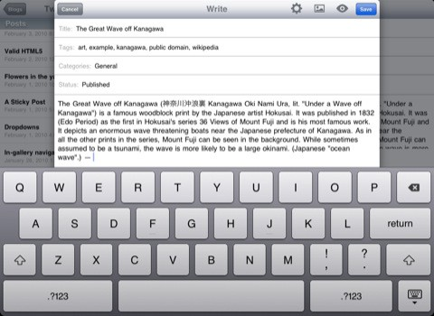 App de WordPress para iPad