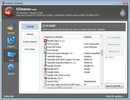 CCleaner 3.10 para Windows