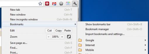 Google Chrome 15 implementa nuevamente los marcadores desde el menú de herramientas