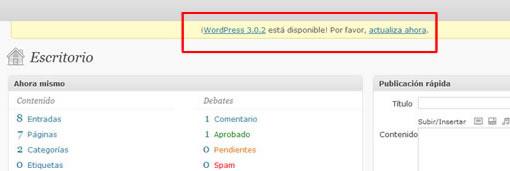 Notificaciones actualizacion WordPress