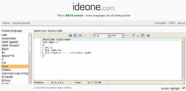Ideone: compila y ejecuta código en más de 40 lenguajes, todo en línea