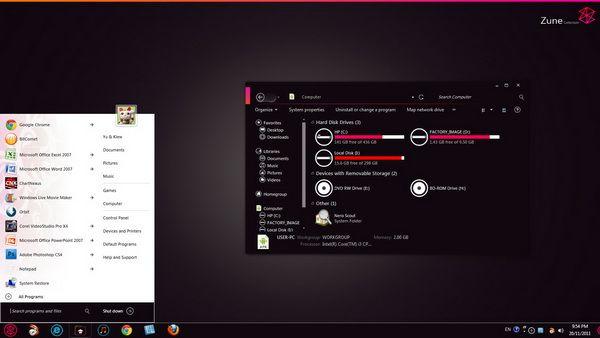 Windows 7 transformado a la interface del Zune con Zune Skin Pack