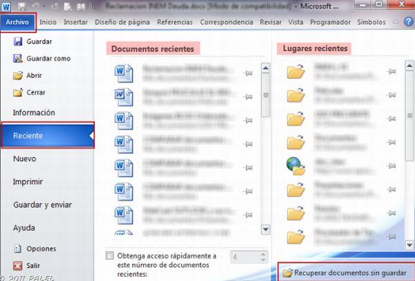 Recuperar archivos que no se guardan en Office 2010