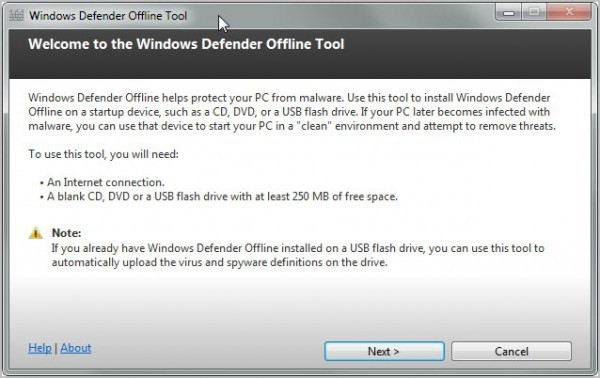 windows defender offline tool, escanea sin tener que estar conectado a Internet