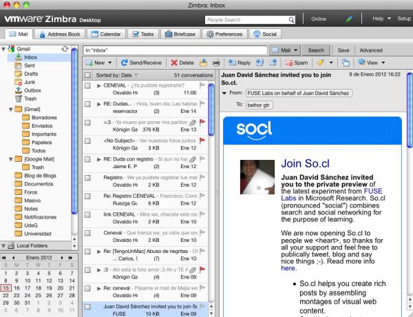 Zimbra Desktop, integrando mail, Facebook y Twitter en una misma aplicación