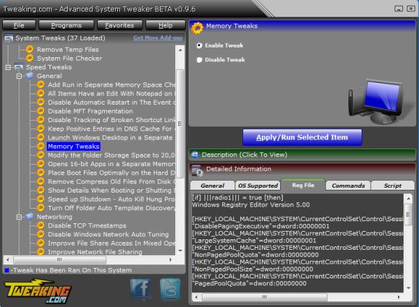 Advanced System Tweaker, interfaz gráfica para modificar aspectos avanzados de Windows