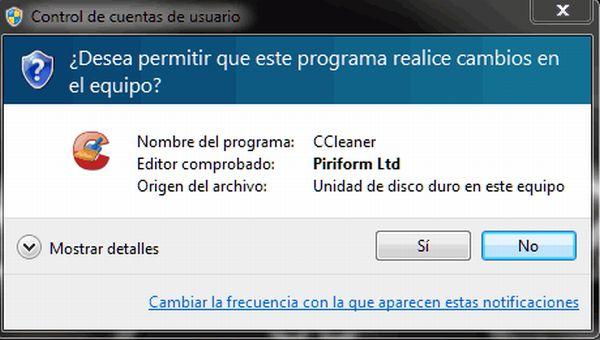 Como deshabilitar la configuración de control de cuentas en Windows 7