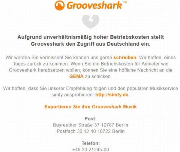 Grooveshark termina sus operaciones en Alemania