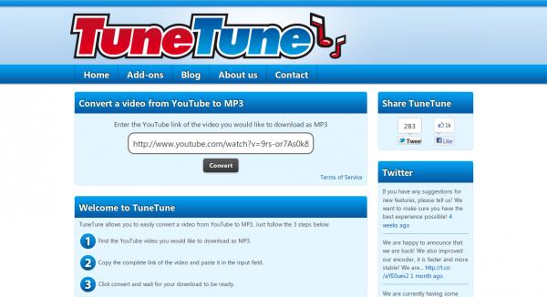 TuneTune, convirtiendo vídeos a MP3