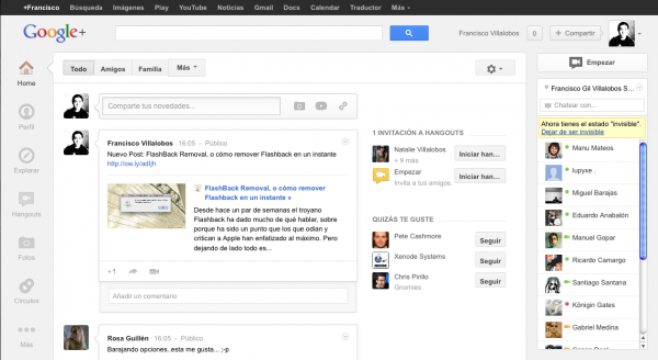 Nueva versión de Google+