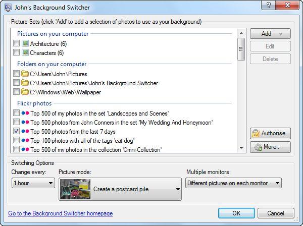 Diferentes fondos de pantalla a cada momento con John's Background Switcher