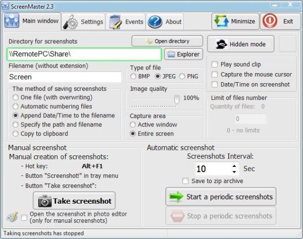 Screenmaster: toma instantáneas de la pantalla con una frecuencia determinada