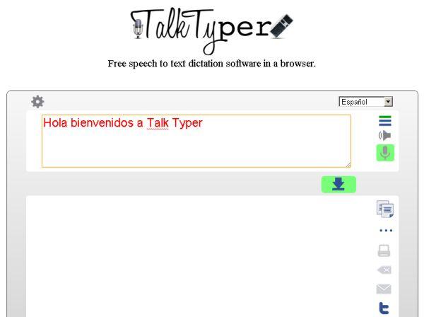 Talk Typer transcribe texto dictado a viva voz