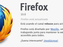 Ya está disponible Firefox 13 final desde los servidores FTP de Mozilla
