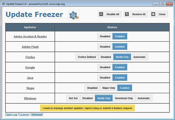 Update Freezer detiene los updates en el arranque