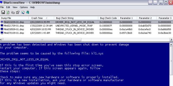 BlueScreenView analiza las causas de los pantallazos azules