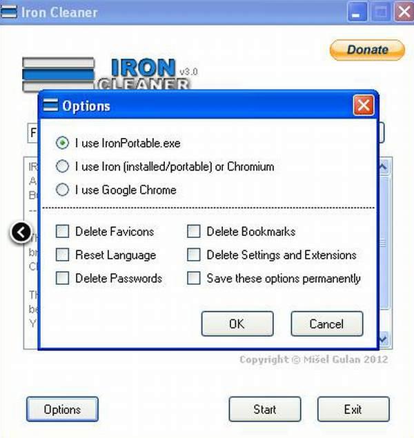 IronCleaner para acelerar Chrome, Chromium o SrWare