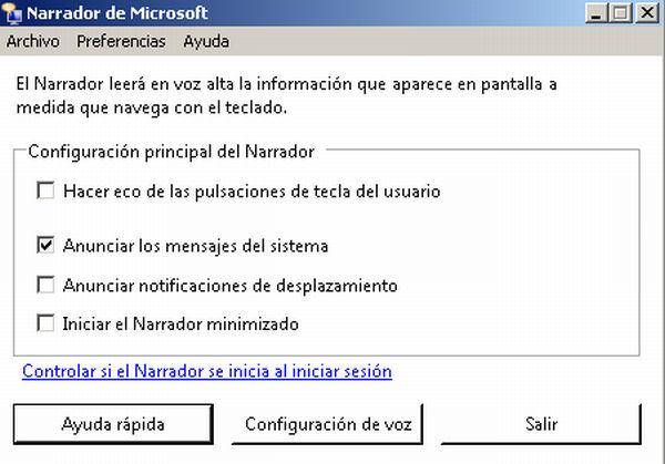 La característica Narrador de Windows 7