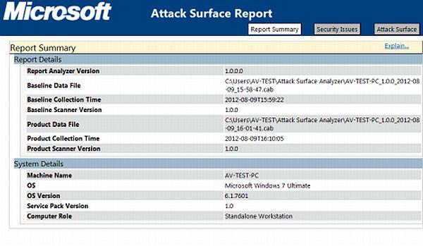Attack Surface Analyzer: herramienta para analizar las fases de cambios en el sistema