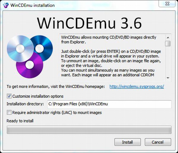 WinCDEmu 3.6: monta imágenes sin montar previamente un disco virtual