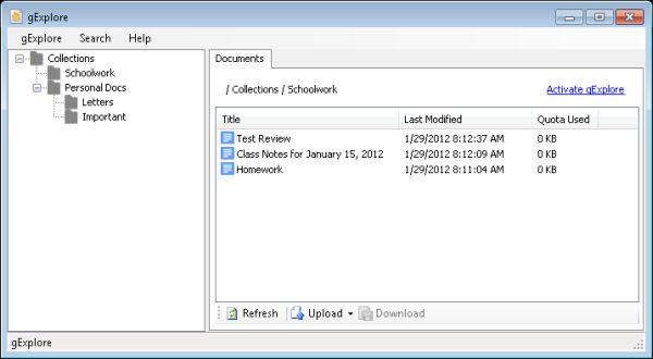 gExplore: interfaz de escritorio para Google Docs
