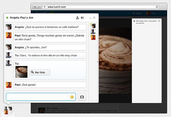 Tuenti da la posibilidad de compartir fotos privadas en el chat de grupo