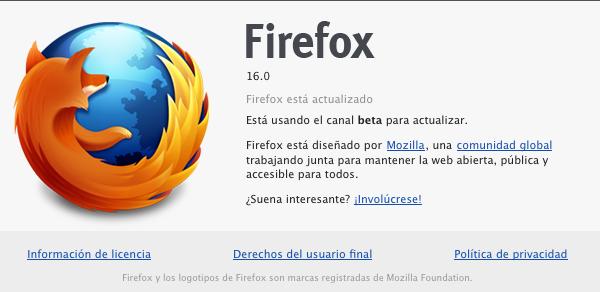 Firefox 16 podría llegar mañana