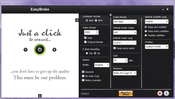 EasyBrake, convierte vídeos con un solo clic