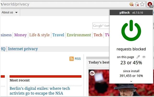 µBlock, bloqueador de publicidad para navegadores basados en Chromium