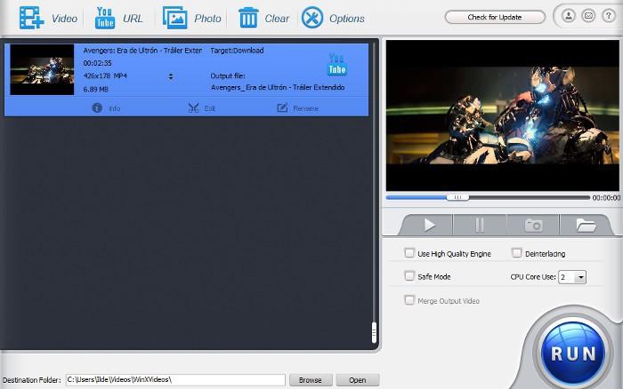 WinX HD Video Converter Deluxe, un conversor simple y sencillo