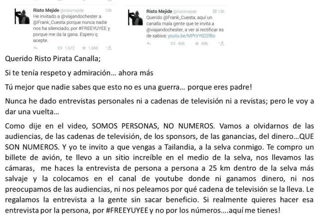 Frank Cuesta hace una propuesta a Risto Mejide