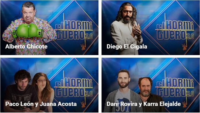 Chicote, Diego El Cigala, Paco León y Juana Acosta y Dani Rovira y Karra Elejalde en El Hormiguero