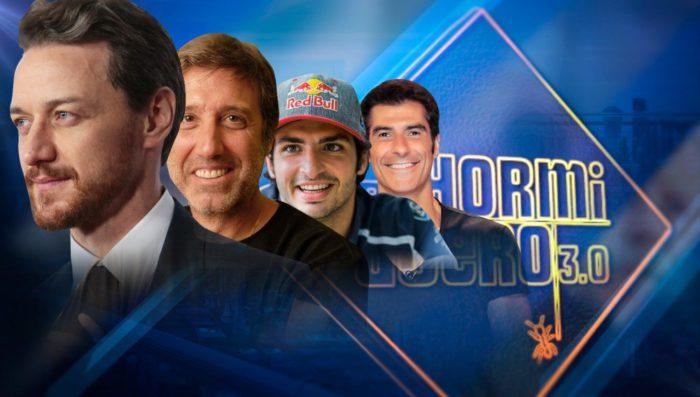 Emilio Aragón, Jorge Fernández, Carlos Sainz y JamesMcAvoy en El hormiguero