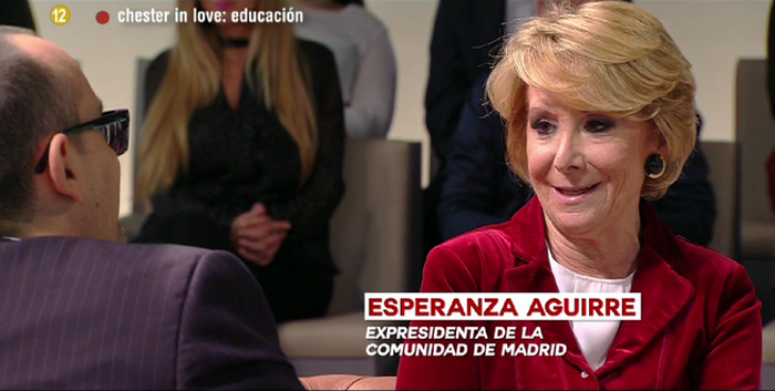 """Chester in love """"Edu"""" con Esperanza Aguirre, Eva Hache y César Bona"""