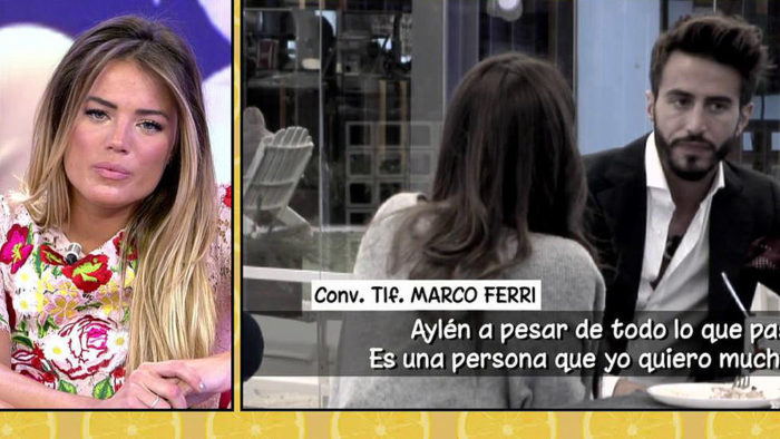 Alyson Eckmann se entera en Sálvame de que Marco Ferri está soltero