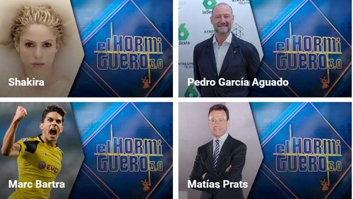 Shakira, Pedro García Aguado, Marc Bartra y Matías Prats en El Hormiguero
