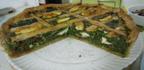Receta tarta de verduras y pollo