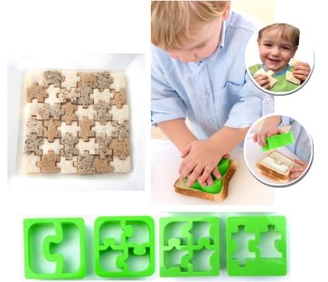 sandwiches divertidos con forma de puzzle