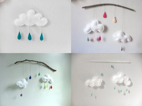 Nubes y gotas de lluvia para la habitación de tu bebé